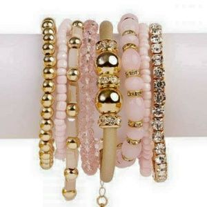 Jewelry - Multi-bracelet set (light pink and gold plated)